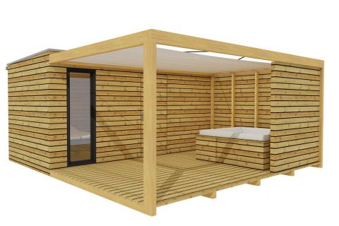 Venkovní dřevěné wellness 5x2,5 m s terasou a pergolou